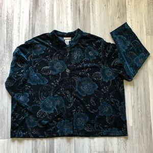 Coldwater Creek Floral Print Velour Top